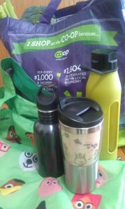 Reusable shopping bags, coffee cups, water bottles